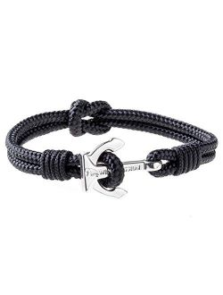 Wind Passion Premium Anchor Bracelet Durable Nautical Rope Cuff Wristband for Men Women