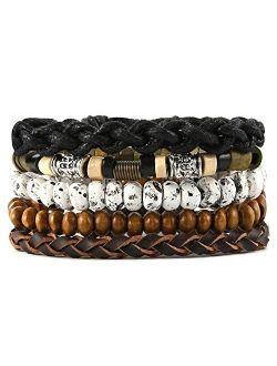 Mix 4 Wrap Bracelets Men Women, Hemp Cords Wood Beads Ethnic Tribal Bracelets, Leather Wristbands