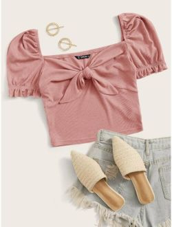 Puff Sleeve Tie Front Rib-knit Crop Top