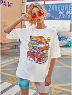 Car & Letter Graphic Oversized Tee