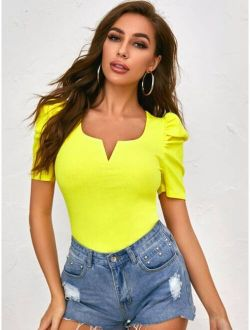 Notched Neck Puff Sleeve Rib-knit Tee