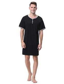 Sykooria Men's Nightshirt Short Sleeve Henley Kaftan Sleepshirt Comfy Long Sleeve Nightwear with Pocket