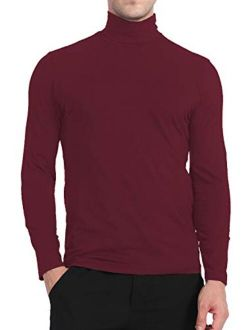 Yostylish Mens Turtleneck Shirts Basic Premium Cotton Lightweight Pullover T Shirts