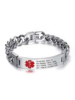 Personalized Emergency Medical Bracelets for Men Women for 7.5 to 8.5 Inches Free Engrave Medical ID Bracelets for Men Women Tag Stainless Steel Medical Alert Bracelets