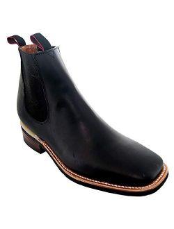 Soto Boots Men's Dallas Square Toe Chelsea Ankle Boots H6001