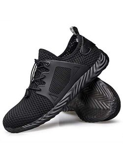 Winemuwang Steel Toe Shoes Mens Safety Work Industrial Construction Breathable Sneakers Lightweight Non Slip Outdoor Shoes