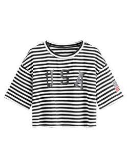 Women's Letter Print Crop Tops Summer Short Sleeve T-shirt