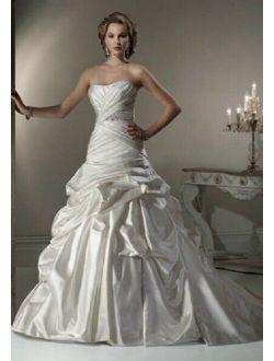 MAGGIE SOTTERO $1699 14 CALISTA ALABASTER SATIN STRAPLESS CORSET WEDDING GOWN