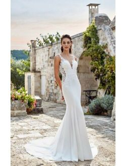 Wedding Dress Size 10 White Beads Lace Eddy K Dreams Isabel, FREE Ring Pillow