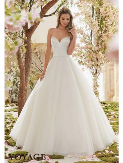 Wedding Dress Ball Gown by Mori Lee style 6831 Lt. gold Size 8 Sweetheart/tulle