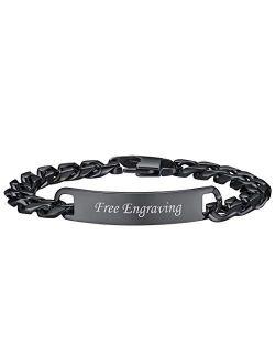 U7 Custom ID Bracelet Men Women Stainless Steel 7MM Wide Cuban Curb Link Chain Personalized Message Engrave Bar Bracelet Bangle, Length 19CM to 21CM
