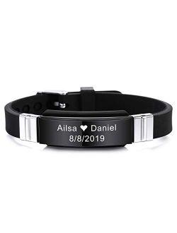 MeMeDIY Personalized Bracelet Engraving Names Silicone Sport Wrist Identification ID Tag Bracelet Customized for Men Women Kids Stainless Steel Rubber Adjustable 15mm Wid