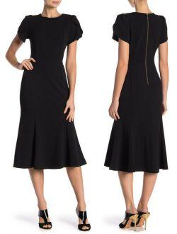 Lein Black Tulip Sleeve Midi Dress Flounce Bottom Exposed Zipper 12