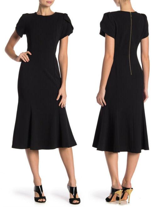 NWT CALVIN KLEIN Black Tulip Sleeve Midi Dress Flounce Bottom Exposed Zipper 12