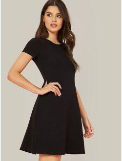 Short Sleeve Solid Flowy Dress