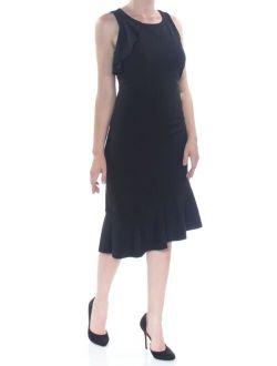 KENSIE $108 Womens New 1182 Black Ruffled Sleeveless Fit + Flare Dress 8 B+B
