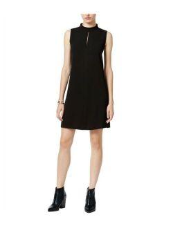 Womens Crepe A-line Dress, Black, Medium