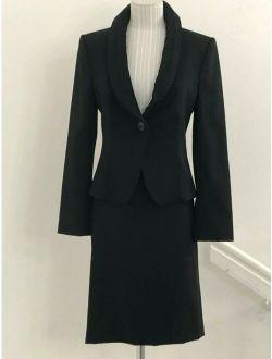 ARMANI COLLEZIONI Black Wool Ribbon Trim Jacket & Skirt Suit Set Sz US 4 $1580