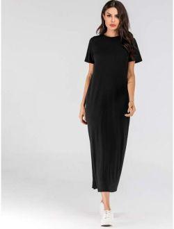 Solid Asymmetrical Neck Tee Dress