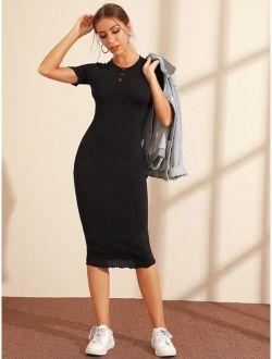 Buttoned Front Lettuce Trim Rib-knit Bodycon Dress