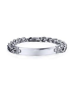 VNOX Customize 12MM/6.5MM Stainless Steel Link Chain Bracelet Set for Men Women,Gift for Best Friend Family