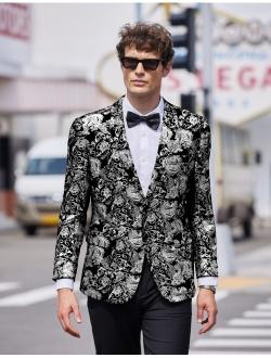 Men Luxury Paisley Floral Suit Jacket Blazer Wedding Prom Party Tuxedo