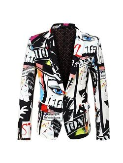 CARFFIV Mens Fashion Colorated Floral Print Suit Jacket Casual Blazer