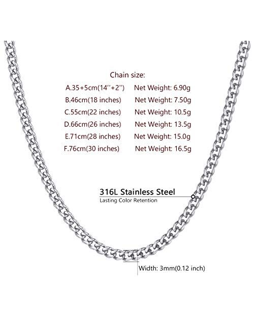 ChainsPro 3/4/6/9/12mm Box/Cuban Link Chain Necklace,14/18/22/24/26/28/30 inch, 316L Stainless Steel/Gold Plated/Box (Send Gift Box)