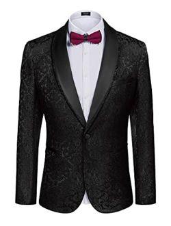 Men's Floral Tuxedo Suit Jacket Slim Fit Dinner Jacket Party Prom Wedding Blazer Jackets