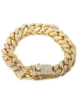 Halukakah Gold Chain for Men Iced Out,Men's 14MM 18k Real Gold Plated/Platinum White Gold Finish Miami Cuban Link Chain Choker Necklace Bracelet,Full Cz Diamond Cut