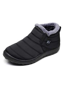 LIGHTEN Waterproof Snow Sneakers Boots Fur Lined Ankle High-Top Outdoor Slip-on Booties Anti-Slip Winter Shoes for Womens Mens