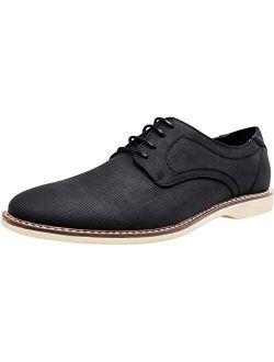 Mens Dress Shoes Retro Plain Toe Business Casual Oxfords Dress Shoes For Men