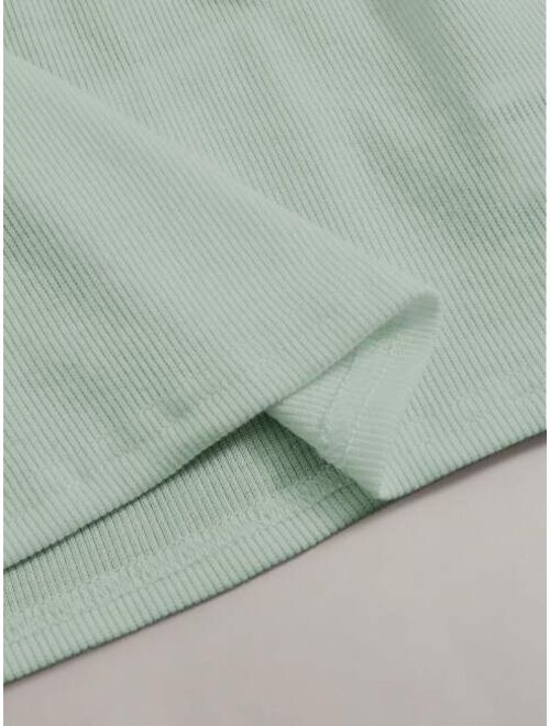 Shein Choker Neck Rib-knit Top