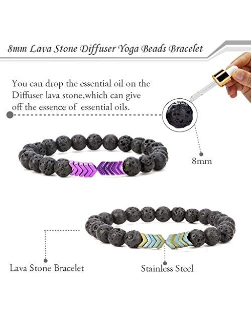 SEVENSTONE 8mm Lava Rock Bead Arrow Diffuser Natural Stone Bracelet Yoga Beads Elastic Jewelry Set for Women Men