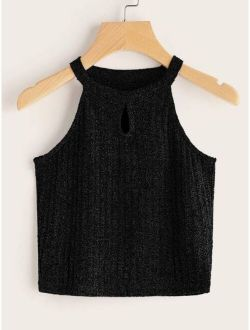 Keyhole Front Rib-knit Halter Top