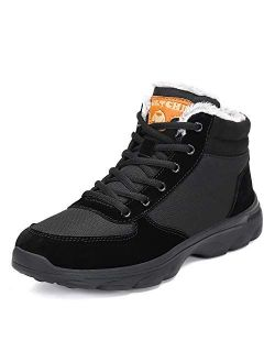 Mens Womens Winter Snow Hiking Boots Fur Lined Warm Non Slip Casual Walking Outdoor Ankle Shoes
