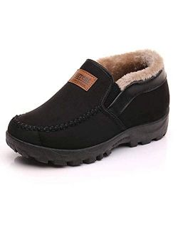 Men's Moccasins Slippers Slip-on Plush Loafers Warm Fur Lined Walking Driving Shoes Indoor Outdoor Short Boot Winter Snow Boots