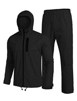 Mens Waterproof Rain Suit With Hood 2 Pieces Lightweight Fishing Camping Rain Jacket