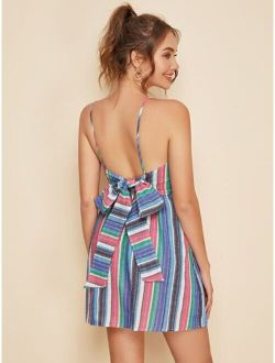 Bow Tied Open Back Striped Cami Dress