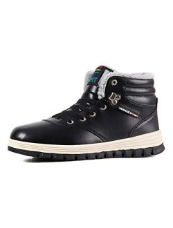 Mens Snow Boots Winter Waterproof Shoes Lace Up Anti-Slip Ankle Outdoor Shoes with Warm Fully Fur Lined