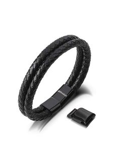SERASAR | Premium Genuine Leather Bracelet for Men in Black | Polished Magnetic Stainless Steel Closure in Black & Silver | Exclusive Jewellery Box | Great Gift Idea