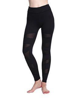 Lotsyle Women's Mesh Lace Stitching Yoga Pants Fitness Leggings Nine Pants