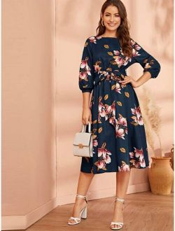 Floral Print Belted Dress