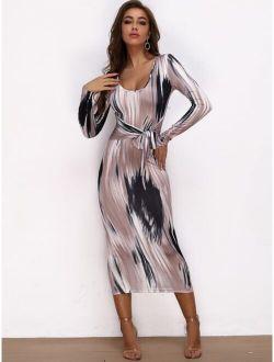 Joyfunear Brush Stroke Print Tie Waist Bodycon Dress