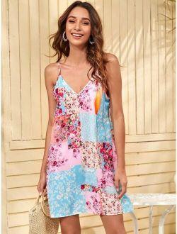 Floral & Patchwork Print Cami Dress