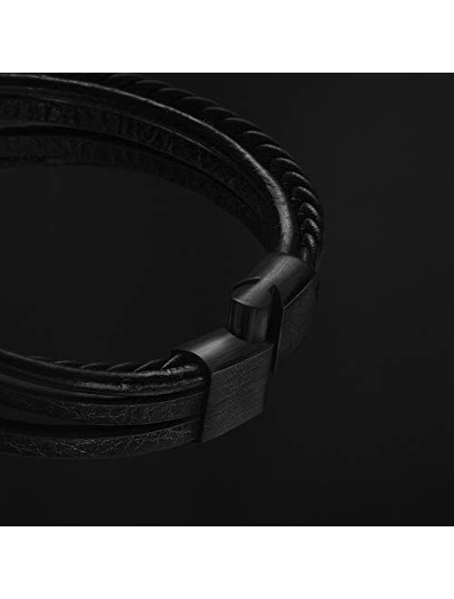 SERASAR | Premium Genuine Leather Bracelet for Men in Black & Brown | Various Lengths | Magnetic Stainless Steel Closure | Exclusive Jewellery Box | Great Gift Idea for M