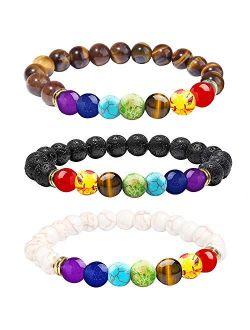 ONESING 3 Pcs Chakra Bead Bracelets Lava Beads Bracelet 8mm Lava Rock Stones Bracelets Natural 7 Chakras Yoga Bracelets Elastic Essential Oil Diffuser Bracelet