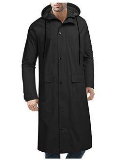 Men's Rain Jacket With Hood Waterproof Lightweight Active Long Raincoat