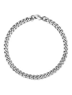 Trendsmax 7mm Mens Women Chain Gold Silver Black Stainless Steel Curb Cuban Link Chain Bracelet 7-11inch