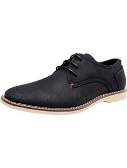 Men's Oxford Suede Business Casual Dress Shoes Plain Toe Oxfords Classic Formal Derby Shoes